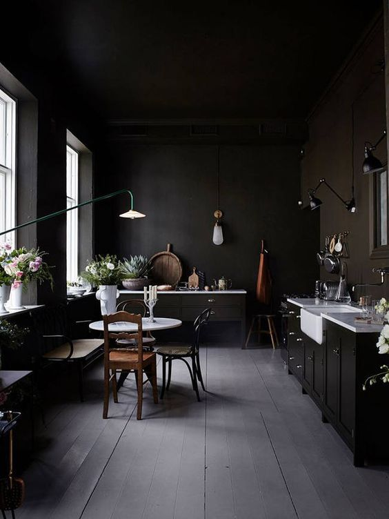 residential painting and decorating for dark kichen with black painted walls and black ceiling, cabinets, dining area