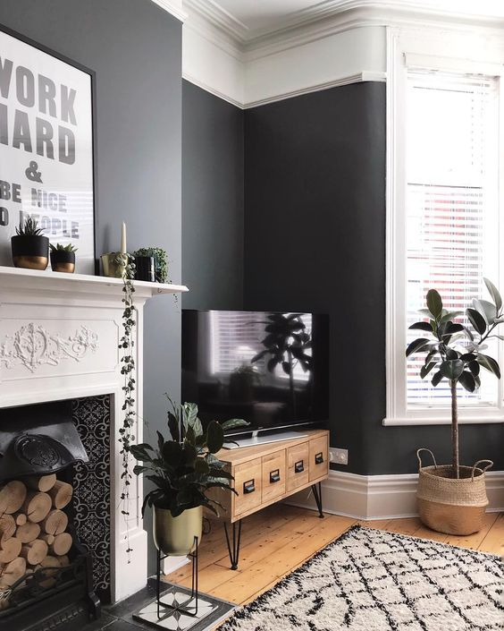 residential painting and decorating for spacious living room with black painted walls,London