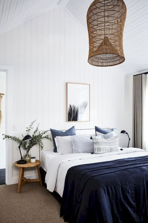 residential painting and decorating for light bedroom with white painted walls and ceiling