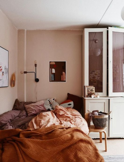 painting and decorating services for a bedroom with walls of earthy tones