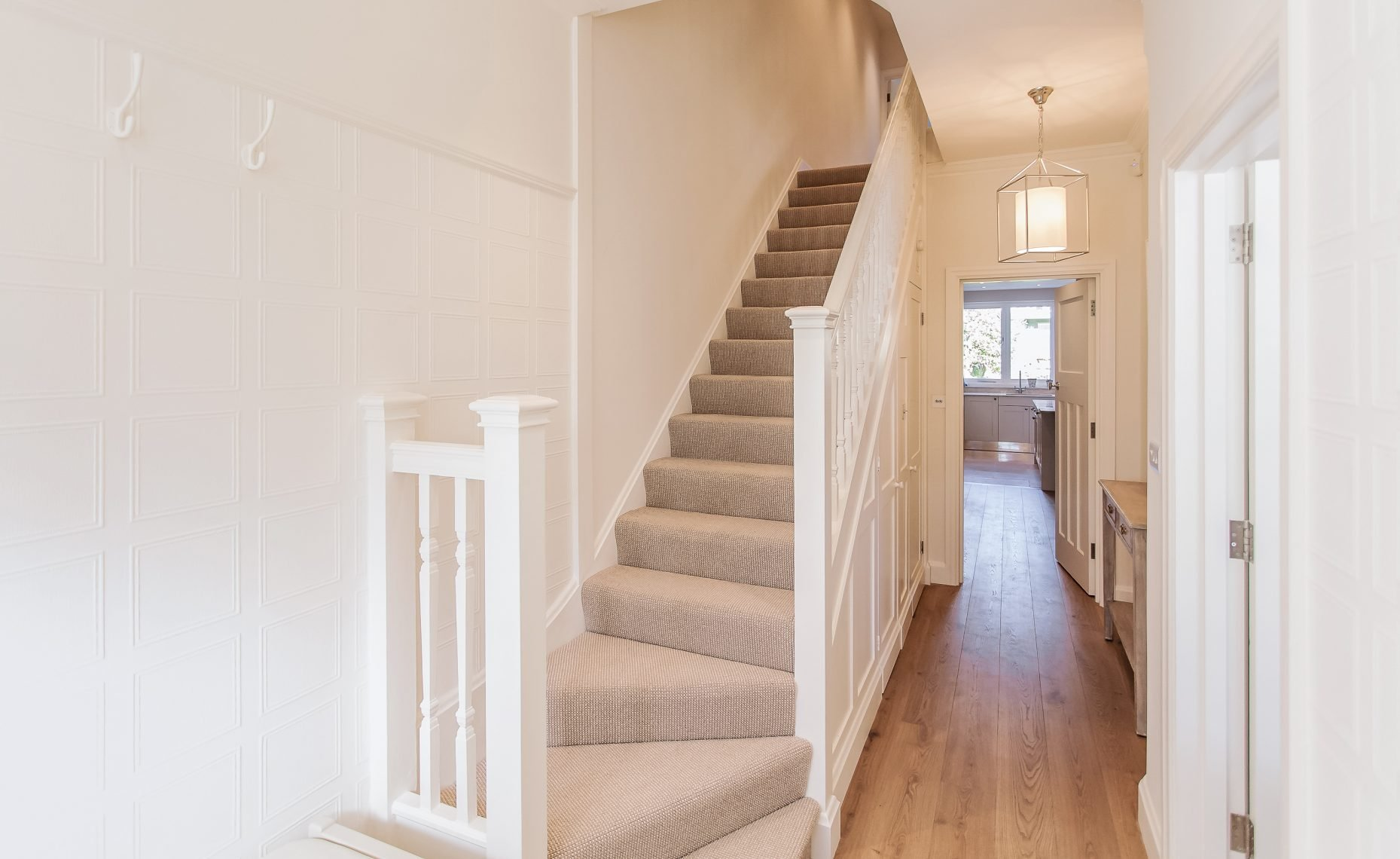residential painting and decorating service for Hallway painted in All White from Farrow and Ball , Wandsworth, London