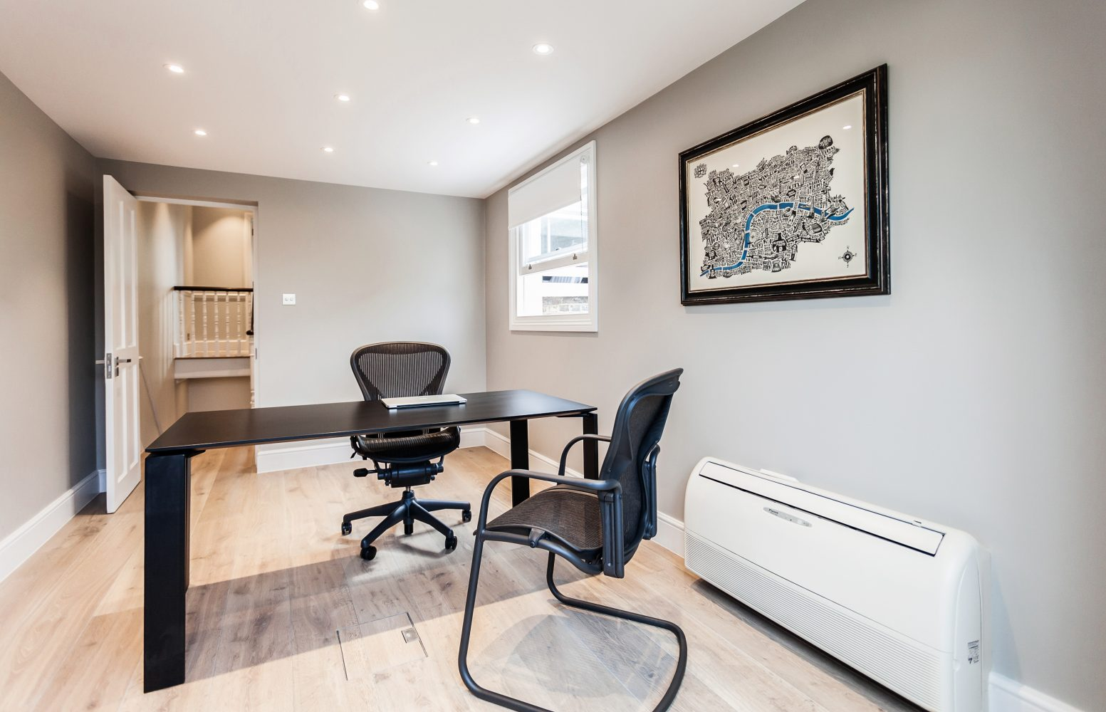 Painting and decorating services for spacious home office in Chelsea, London- home office with white painted walls and ceiling