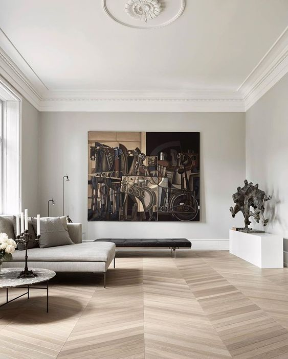 residential painting and decorating for light and spacious living room with white painted walls and ceiling, London