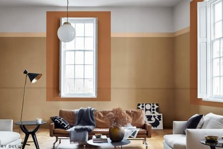 Residential Painting And Decorating Services In London For Spacious Living Room With Walls Painted Mustard Colour