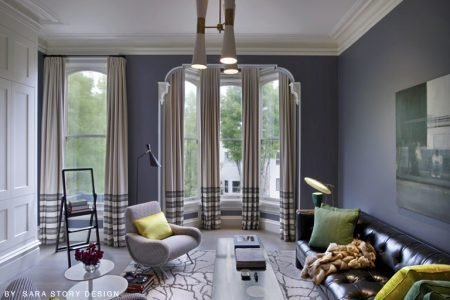 Residential Painting And Decorating Services In London For Spacious Living Room With Walls Painted Vivid Blue Colour, Large Floor To Ceiling Windows