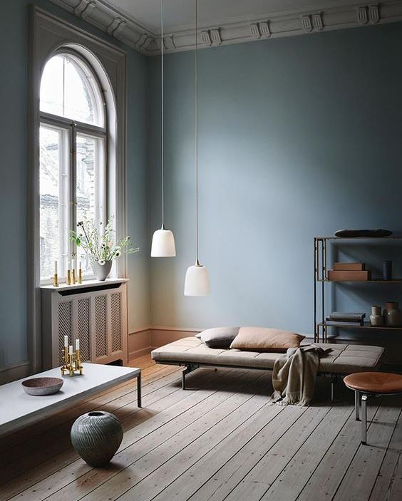 residential painting services for blue painted room