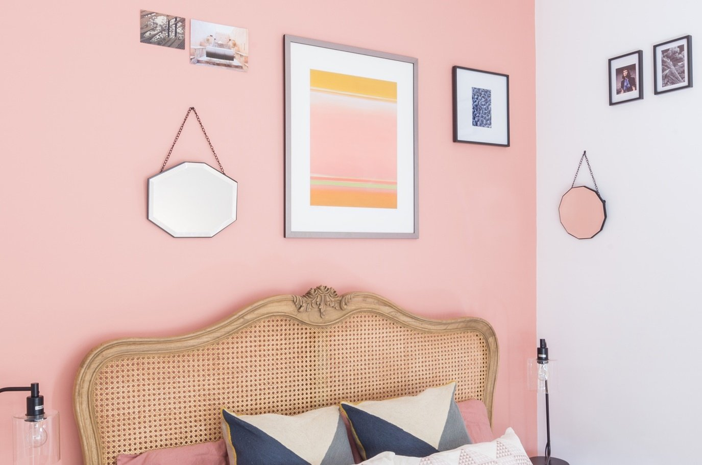 residential painting and decorating services for bright bedroom with walls painted pink and white, designer furniture in Shepherds Bush, London