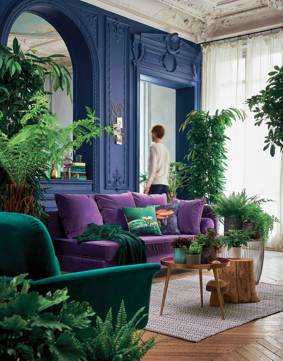 playful and colourful room with bright interior: blue painted walls, purple sofa, green armchair, wooden coffee table, plants