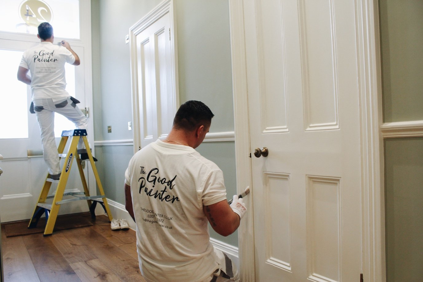 The Good Painter team with Farrow and Ball painting -painters and decorators based in London - painting in progress