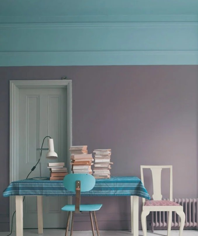 playful colourful room painted grey and blue