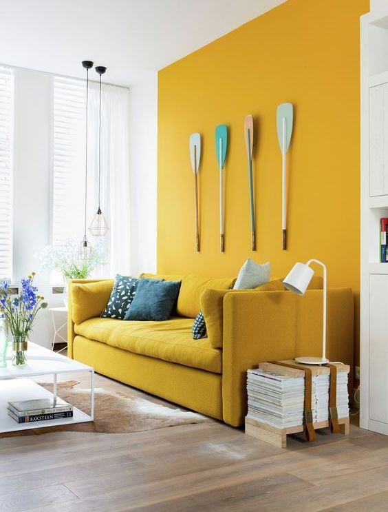 creative interior design for yellow painted living room