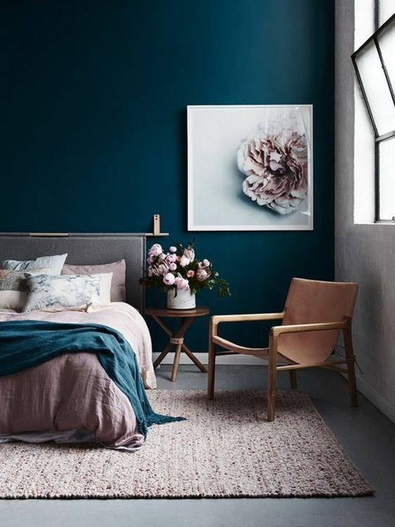playful colourful interior design for bright bedroom with turquoie painted walls