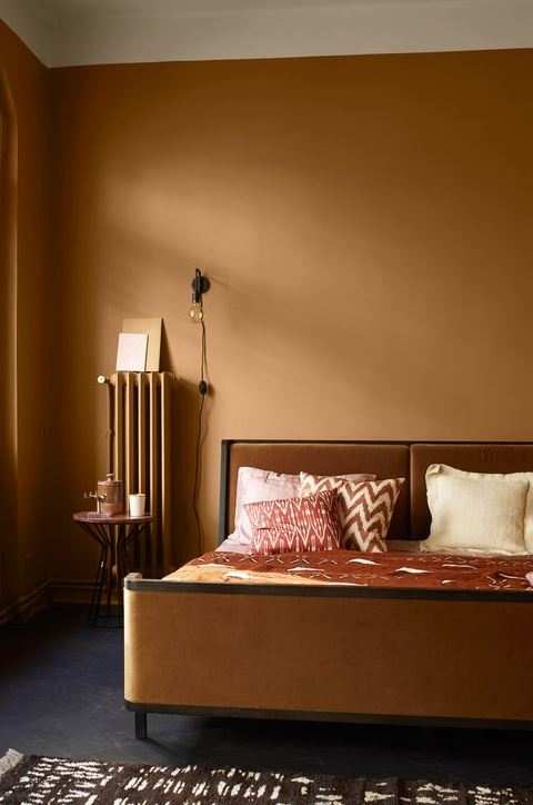 residential painting service in London for spacious bedroom painted mustard colour