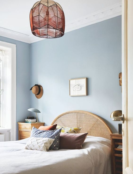 painting service for bedroom with dusty blue wall and white painted ceiling