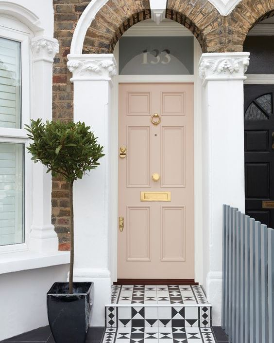 warm painted front door in London