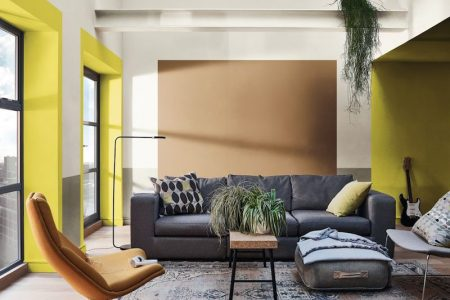Residential Painting Service For Yellow Painted Living Room With Floor To Ceiling Windows