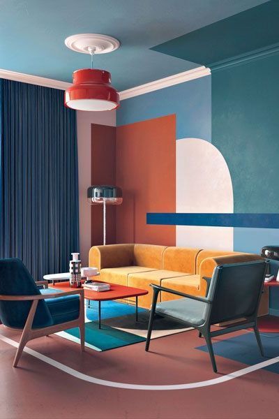 painting service for residential bright living room with playful colourful interior