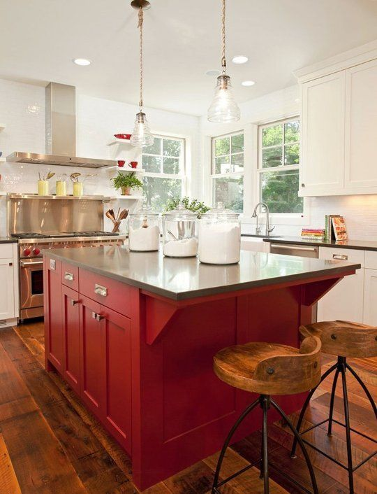 residential painting services for kitchen with white and red painted cabinets and high wooden chairs