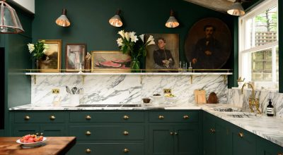 Grand Interior Design For Spacious Kitchen With Green Painted Walls, Green Cabinets, Marble Worktop