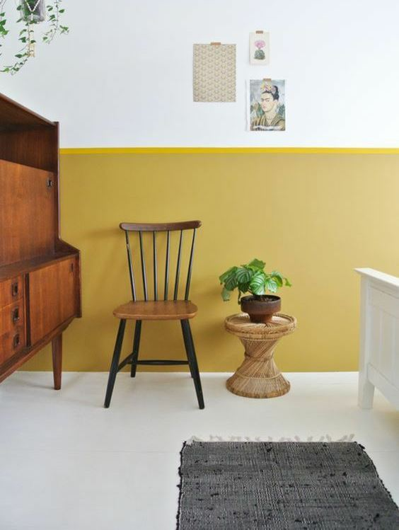 residential painting service for yellow painted room