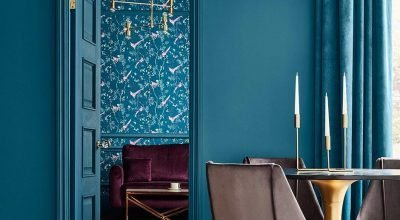 Playful Colourful Interior With Bright Blue Walls, Door, Curtains