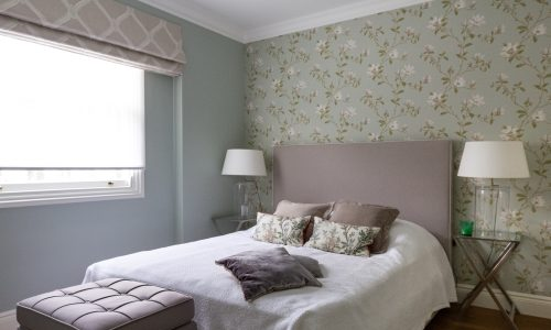 picture of bedroom after wallpaper hanging service by thegoodpainter