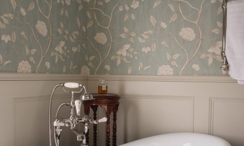 picture of floral wallpaper hanged in bathroom