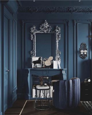 Saturday inspiration, and we're feeling grand with this weather today!  ⠀⠀⠀⠀⠀⠀⠀⠀⠀ Almost as grand as this luxury environment by @thehouseofdesignfelsted, who highlights the wonderful wall panelling and the fireplace with the beautiful royal blue tone.  ⠀⠀⠀⠀⠀⠀⠀⠀⠀ This blue tone is also an excellent choice for any type of finish you wish to introduce, such as brass and chrome. Chrome and silver decorative elements keep the cool setting which adds a modern touch.  ⠀⠀⠀⠀⠀⠀⠀⠀⠀ What finish do you like the most with blue: brass or chrome? . . . . . . . . . #midcenturymodern  #midcenturystyle #midcenturyhome #midcenturymoderndesign #midcenturydesign  #midcenturydecor #midcenturyliving  #midcenturymod #midcenturyinterior #midcenturymoderndecor #midcenturyinteriors #midcenturylivingroom #midcenturymodernstyle #midcenturyhomedecor #thegoodpainter #londoninteriordesigner #londonhome #londonproperty #londondesigner #londonpainting #londonapartment #londonhouses #londoninteriordesign #londonpainter #londonpainting #bluewall #blueinterior #bluepainting #fireplacedesign #silverdecor